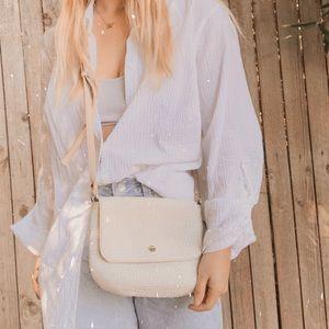 Talbots cream tan straw mini bag crossbody